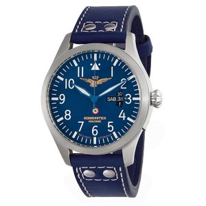 OR0000 Aviator Quarzo Day Date - Blue Cuoio