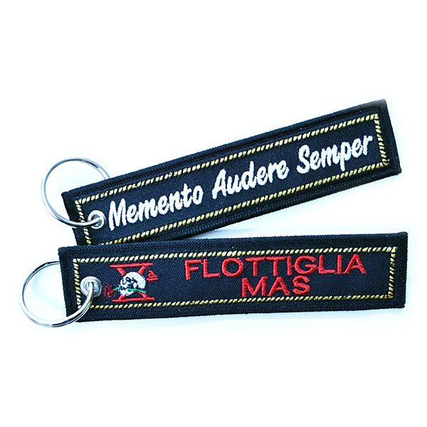 Decima Memento Audere Semper fabric key ring