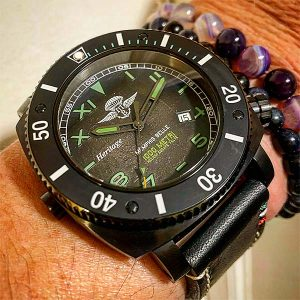 Memphis Belle - Predator Heritage Mille Metri Watch - Green with PVD Black Finish