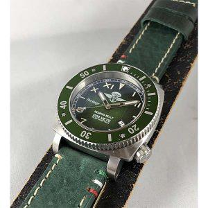 Memphis Belle - Predator Heritage Mille Metri Watch - Green with Nickel Finish